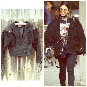 •Vintage 90s Fringe Suede Leather Biker Jacket•